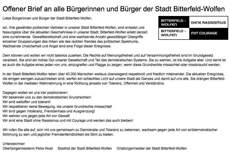 Quelle: http://www.bitterfeld-wolfen.de/de/wisl_s-cms/_redaktionell/11/News/1501/Offener_Brief_an_alle_Buergerinnen_und_Buerger_der_Stadt_Bitterfeld_Wolfen.html